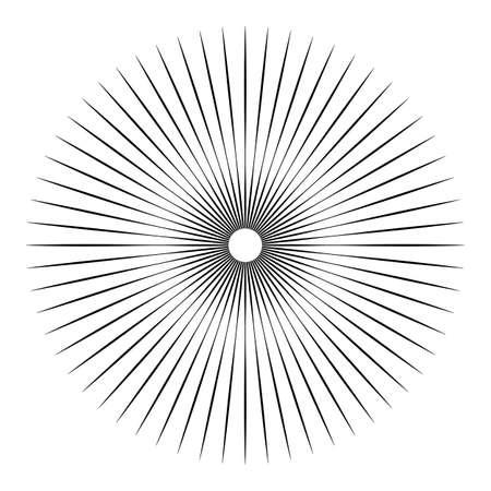Radial lines abstract geometric element. Spokes, radiating stripes Illustration
