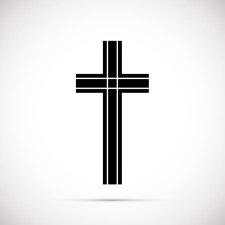 Religion cross icon vector illustration on white background. Black cross with white lines