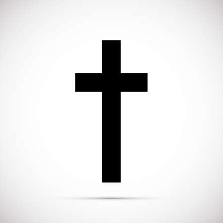 Religion black cross icon vector illustration on white background. Black cross with white lines