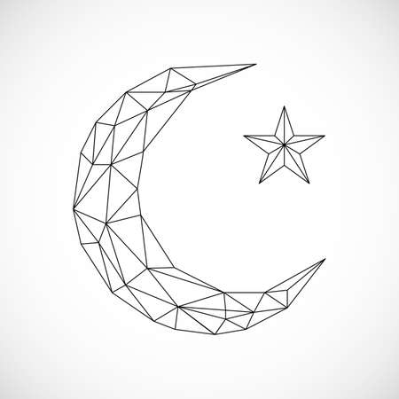 Low poly moon. Abstract image of a moon. Vector illustration concept. Polygon Moon and star Icon