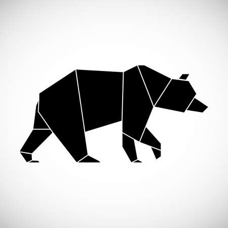 Black bear geometric lines silhouette isolated on white background vintage vector design element.