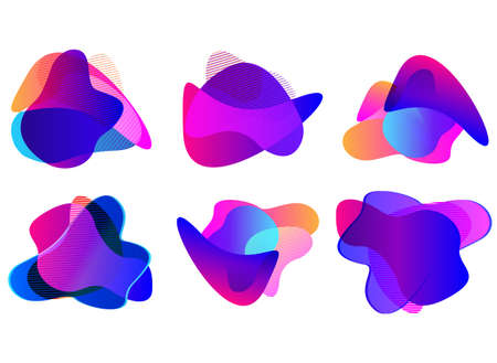 Set of abstract modern graphic elements. Dynamical colored forms and line. Gradient abstract banners with flowing liquid shapes. Template for the design. Vector illustration