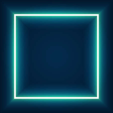 Abstract color neon square with glowing lines. Design element for your ad, sign, poster, banner. Vector illustration