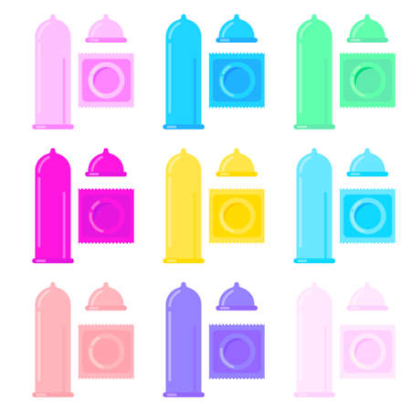 Vector set of condom and packages icon. Contraception concept. Sealed and open condoms isolated on white background.
