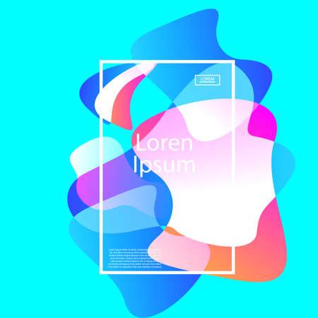 Colorful geometric background. Fluid shapes composition on azure background. Vector illustration