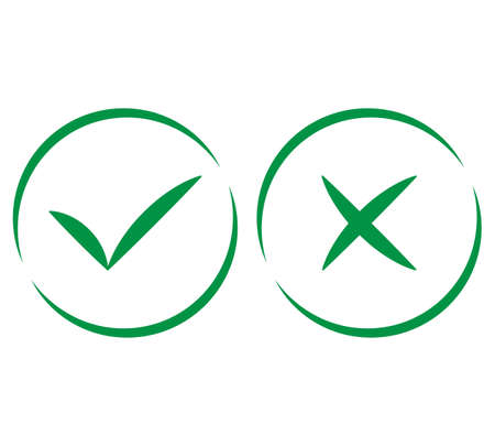 Check mark and X mark icon vector illustration