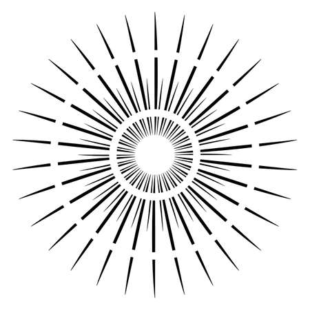 Sunburst rays retro design elements isolated on a white background. Starbursts circles.