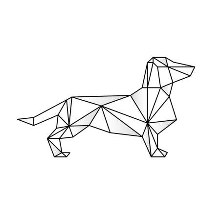 Triangulate dachshund geometric style. Stock Illustratie