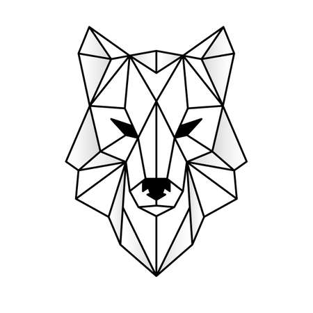 Wolf head icon. Abstract triangular style.