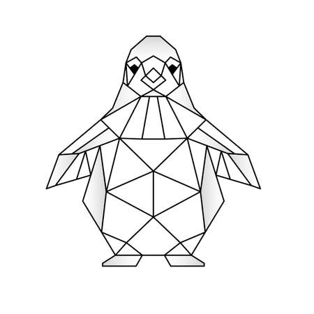 geometric animals penguin line cut triangles.