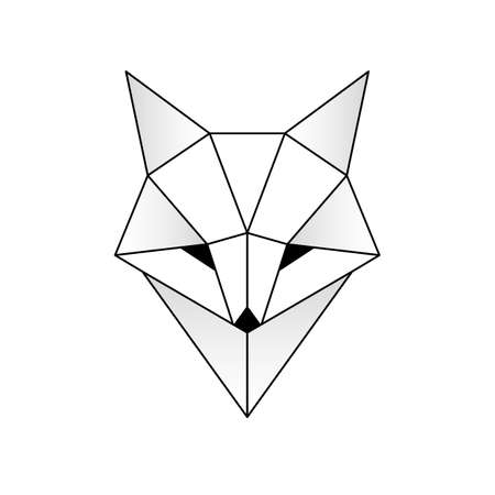 Abstract linear polygonal head of a fox.  Geometric animal.