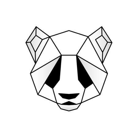 Panda head icon. Abstract triangular style. Stock Illustratie