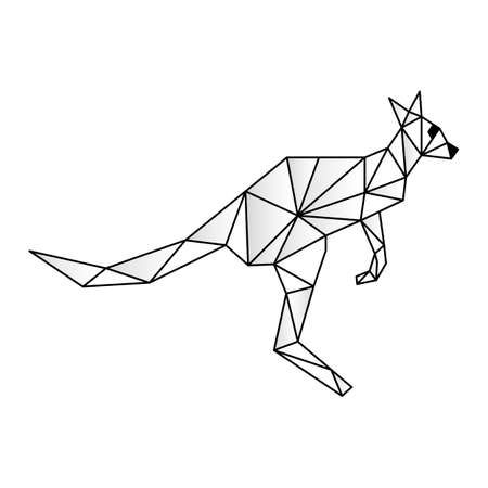 Polygonal low poly illustration of a kangaroo, geometrical triangles linear wire construction. Low poly concept of connection Stock Illustratie