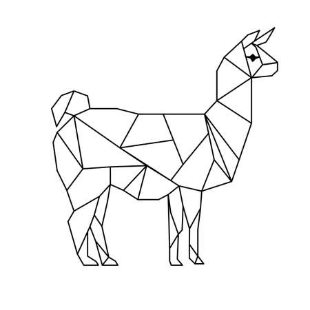 Polygonal low poly illustration of a llama, geometrical triangles linear wire construction.