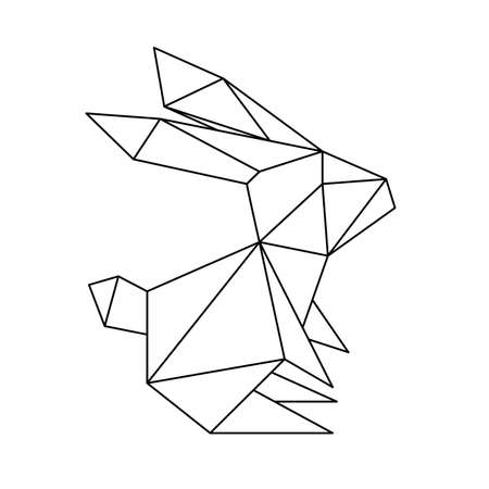 Abstract linear polygonal rabbit.  Geometric animal