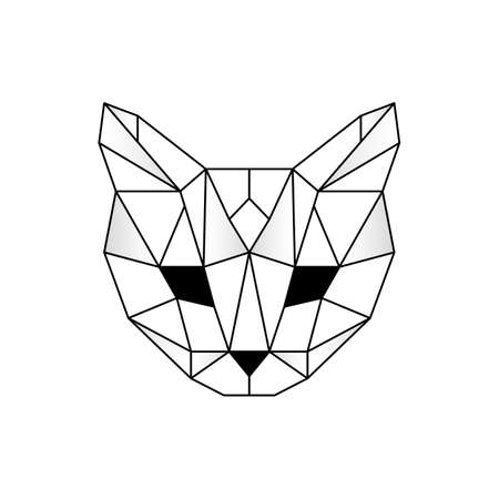 Abstract geometric cats head. Linear polygon animal of the feline family.