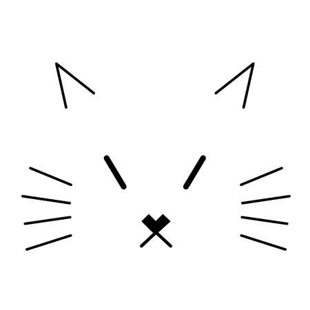 Simple cat face on a white background. Line art  illustration