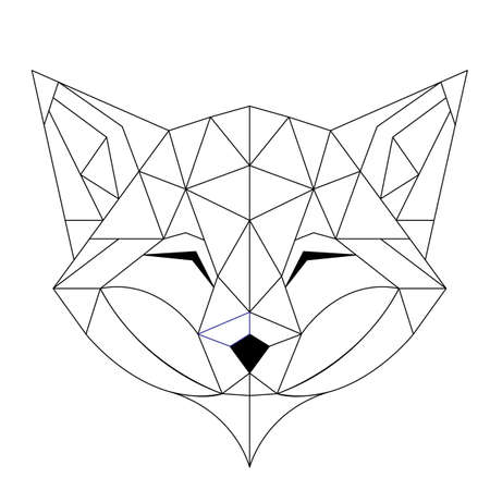 Abstract linear polygonal head of a fox.  Geometric animal