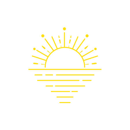 Simple sunset line icon. Illustration isolated on a white background. Stock Illustratie