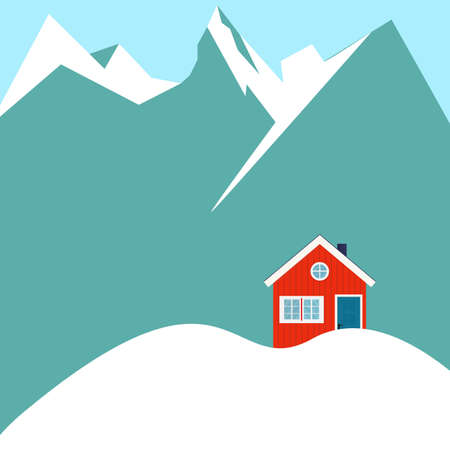 Winter snowy landscape with mountains and country house. Flat cartoon style vector illustration. Stock Illustratie