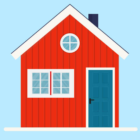 Vector illustration of typical Norwegian wooden house. Red rural house with a flue and windows. Log house icon. Architecture element of Norway. Example of Scandinavian rural architecture.