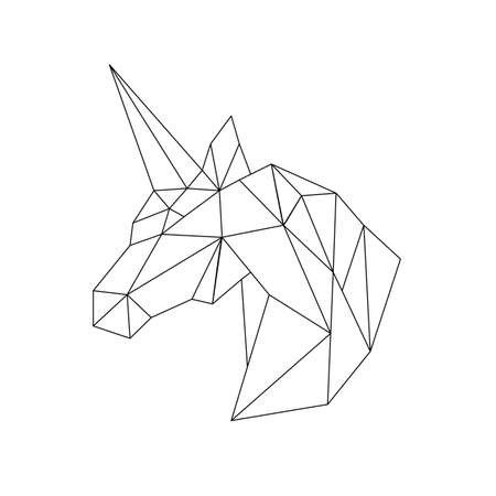 Vector polygonal triangular illustration of animal head. Origami style outline geometric unicorn