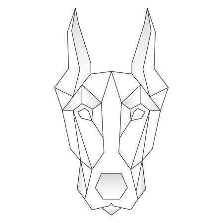 Doberman dog animal low poly design. Triangle vector illustration. Stock Illustratie