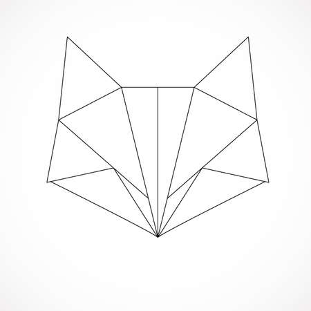Abstract linear polygonal head of a fox. Vector. Geometric animal tattoo. Stock Illustratie