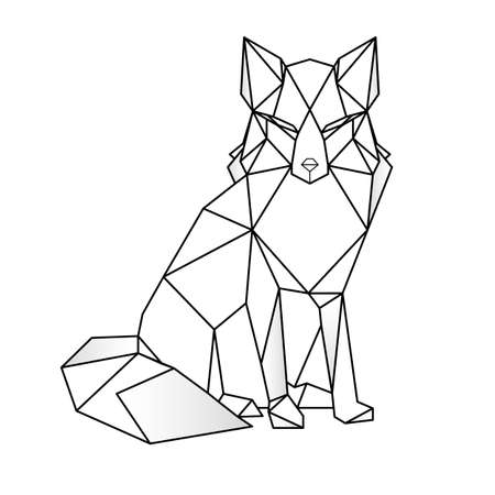 Abstract linear polygonal fox. Vector. Geometric animal tattoo. wall decoration Stock Illustratie
