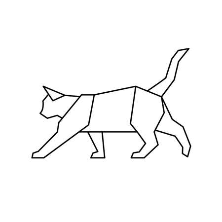 Walking cat low poly  line icon geometric. Triangle vector isolated on a white background. Contour for tattoo, emblem and design element.