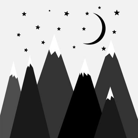 Simple scandinavian poster with black doodle mountains, moon and stars on white background.