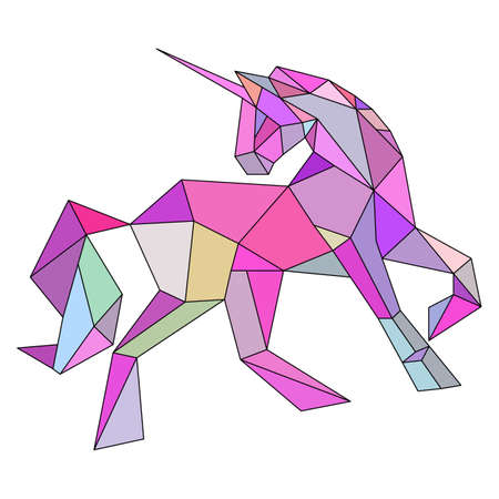 Unicorn low poly design vector illustration isolated on white background. Vector illustration