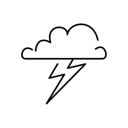 Stormy outline vector icon. Thin line black stormy icon, flat vector simple element illustration from editable weather concept isolated on white background Stock Illustratie