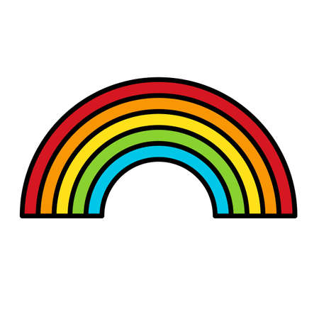 Rainbow Icon.  related symbol in rainbow colors.  Pride. Raibow Community Pride Month. Love, Freedom, Support, Peace Symbol. Flat Vector Design Isolated on White Background