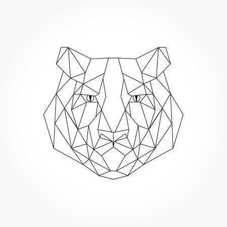 Abstract polygonal head of a tiger. Geometric linear tiger. Vector. Stock Illustratie