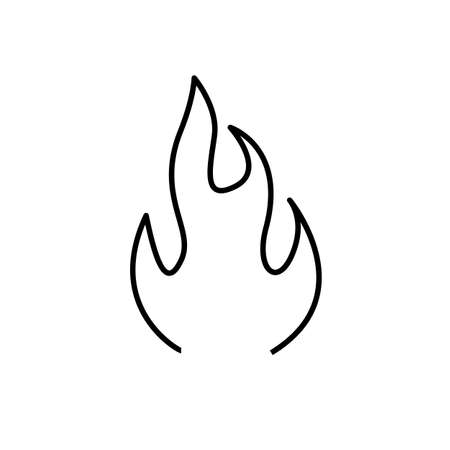 fire light symbol line black icon on white background