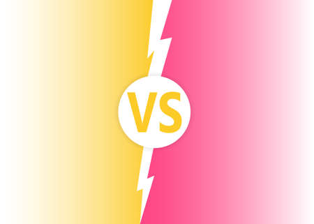 Modern versus battle background. Vs battle headline with lightning bolt. Competitions between contestants, fighters or teams. Vector illustration. Stock Illustratie