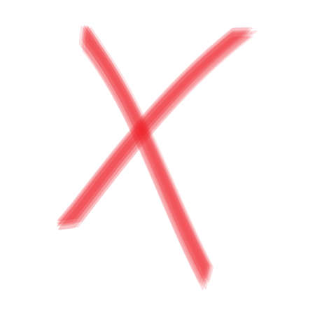 X Red cross handwritten. Two Red Crossed Vector Brush Strokes. Rejected sign in grunge style.