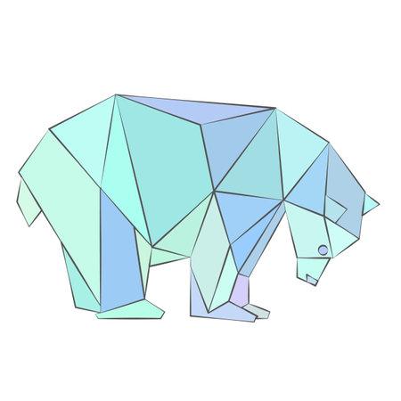 polygonal illustration of polar bear. Vector illustration