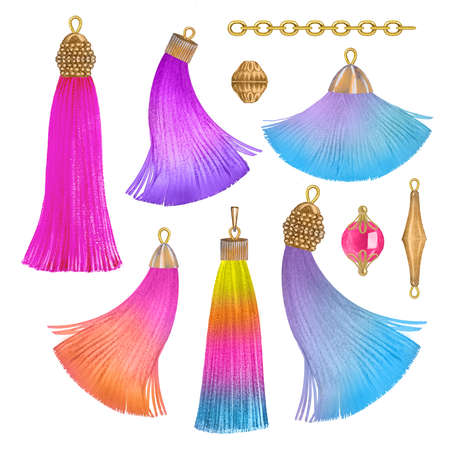 Unicorn rainbow tassels Stock Photo