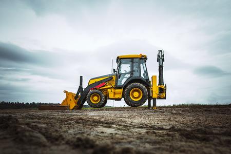 bulldozer: dirty Yellow bulldozer in wide angle, powerfull