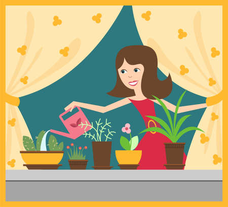 regar las plantas: niña con flores
