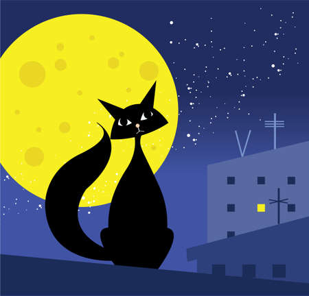 cat on the roof Stock Vector - 10437384