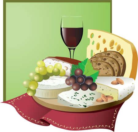 pane e vino: Natura morta con uva e vino, formaggio