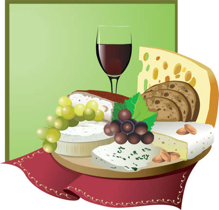 Still life with wine, grapes and cheese