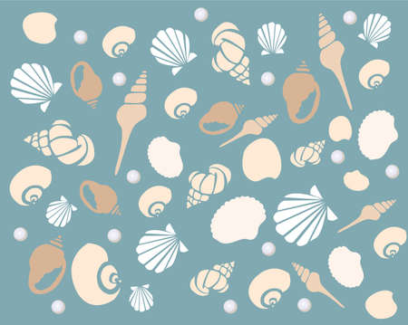 pearl shell: background with seashells Illustration