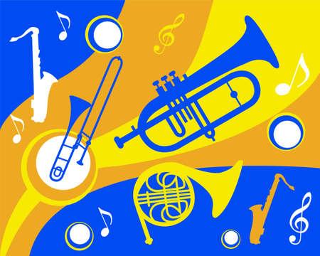 trombón: conjunto de instrumentos de metal de colores Vectores