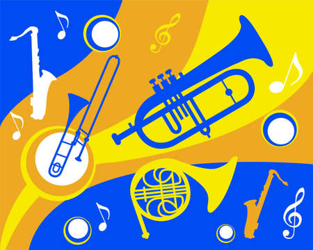 trombone: set of colorful brass instruments