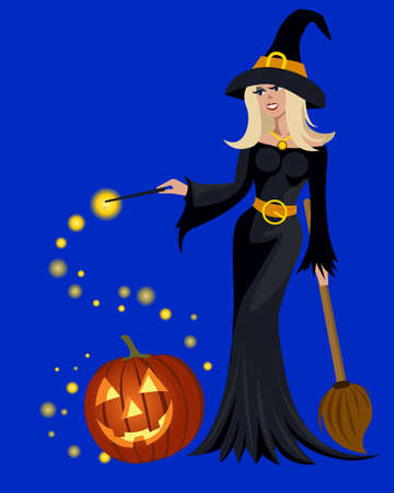 halloween witch: Charming witch with Halloween pumpkin