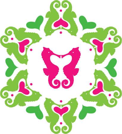 Colored sea horses ornament Иллюстрация